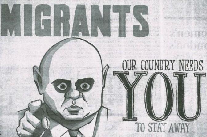 The cartoon of Sajid Javid sent to a Polish-speaking newspaper