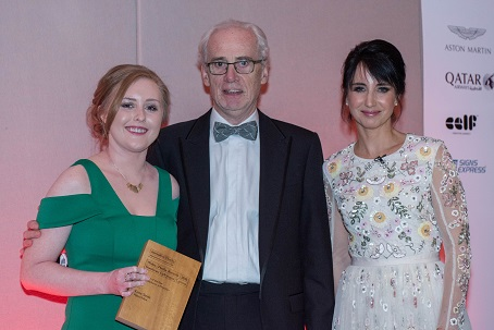 Wales Media Awards Journalist of the Year Katie Sands (left) with Peter Jackson and host Lucy Owen