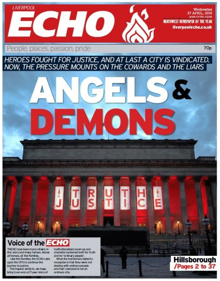 The Liverpool Echo's Hillsborough coverage won two nominations