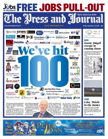 The P&J celebrated the achievement with its fornt page on Friday 13 November