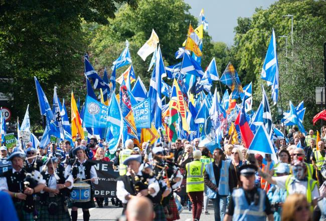 Pro-independence marchers in Aberdeen