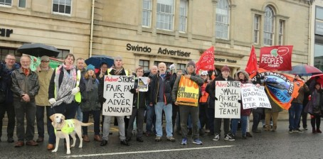 NU members on the picket line in Swindon in January
