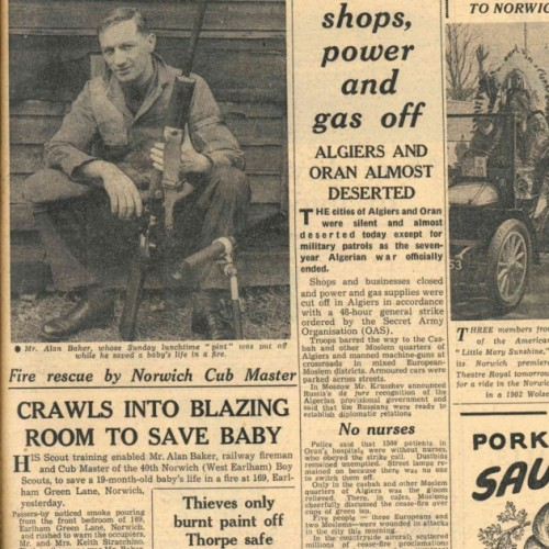 Alan Baker pictured on the front page of the Evening News