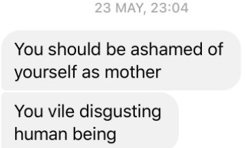 A screenshot of some of the abuse sent to Amy Fenton