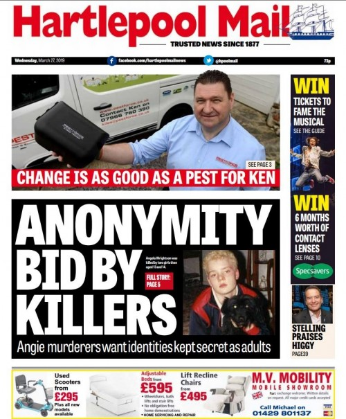 How the Hartlepool Mail covered the anonymity bid last month