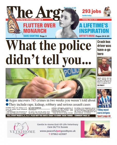 The front page of Thursday's Argus, which revealed the figures