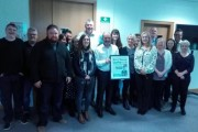 Arthur Duffy, pictured centre, surrounded by Derry Journal colleagues