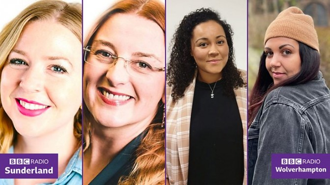 From Left: BBC Radio Sunderland presenters Tamsin Robson and Gilly Hope, and BBC Radio Wolverhampton's Letitia George and Elise Evans