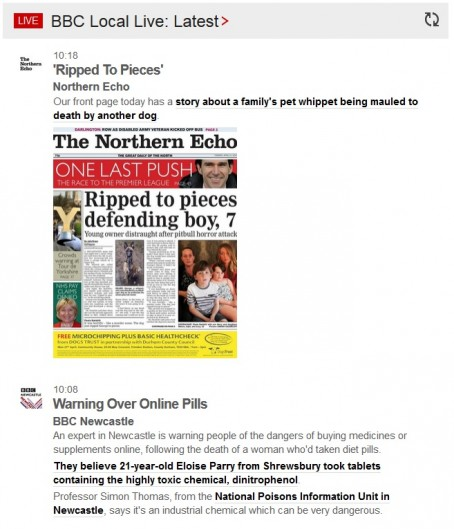 An example of the BBC Tyne & Wear live feed, featuring today's Northern Echo front page