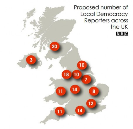 Where the new local democracy reporters will be based.  Source:  BBC website