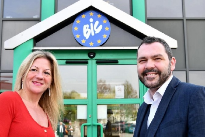 Echo editor Joy Yates with Paul McEldon, Chief Executive of the North East BIC, outside the newspaper's new home
