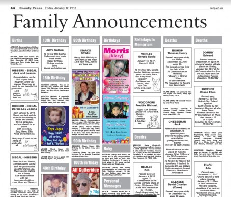 The page of family announements which failed to appear