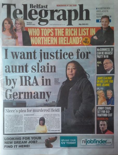 Belfast Telegraph 9 March 2015