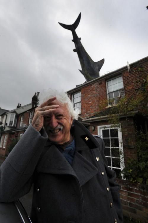 Bill Heine outside his famous 'shark house'