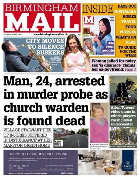 Saturday's Birmingham Mail front page