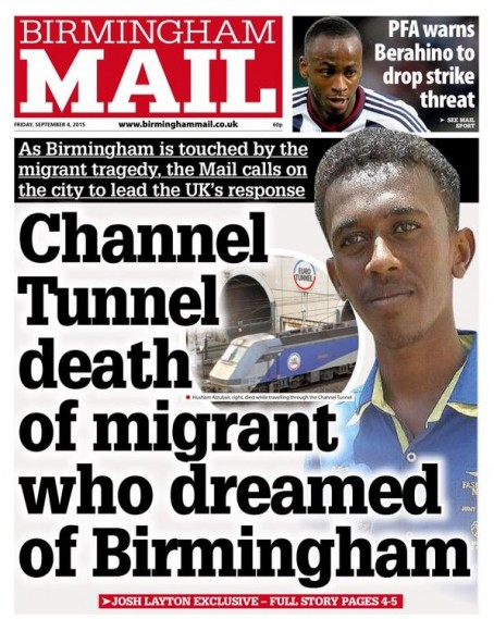 The front page of today's Birmingham Mail