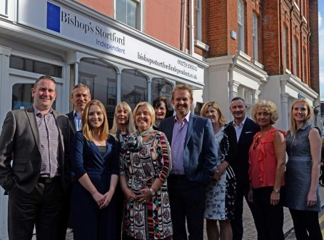 Staff and supporters outside the new Bishop's Stortford Independent office