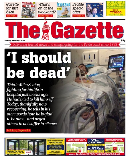 The Gazette published a first-hand account, written by Mike, of his story,  with some of the details of his suicide attempt omitted.