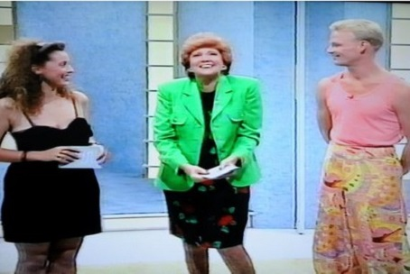 Victoria, left, is introduced to her date Johnny by Cilla Black.