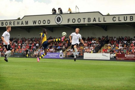 Boreham Wood's Meadow Park home ground, pictured during a friendly match against Arsenal last year