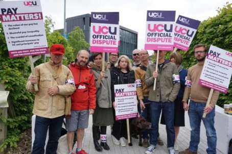 Bournemouth University staff during the strike