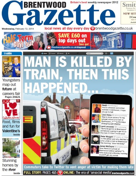The Gazette names and shames the commuters on its front page