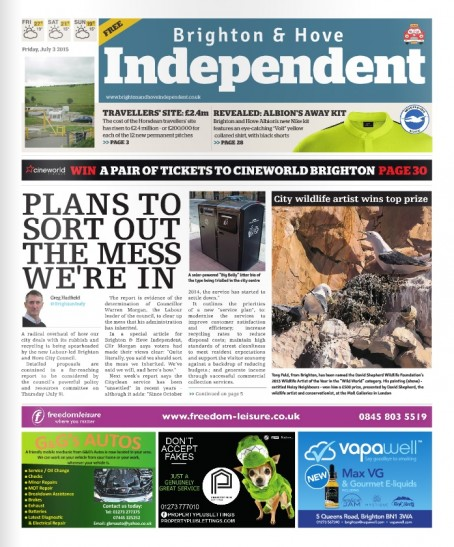 The front page of Friday's Brighton & Hove Independent