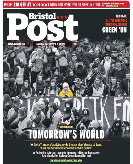 How the Post covered Ms Thunberg's visit to Bristol