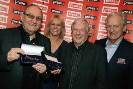From left: Tom Ross, Birmingham Press Club chairman Llewela Bailey, Fred Bromwich and club president Bob Warman