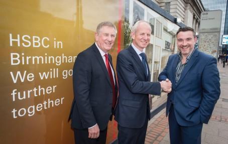 Nigel Hinshelwood (centre), HSBC's Head of UK, with Birmingham Press Club chairman Ed James (right) and Press Club vice-president John Lamb