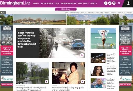 Trinity Mirror's rebranded Birmingham Live website