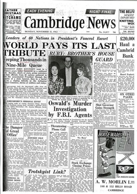 The Cambridge Nrws front page from three days after JFK's death