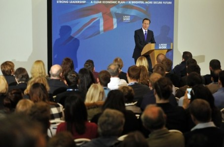 David Cameron speaking at yesterday's event in Bedford
