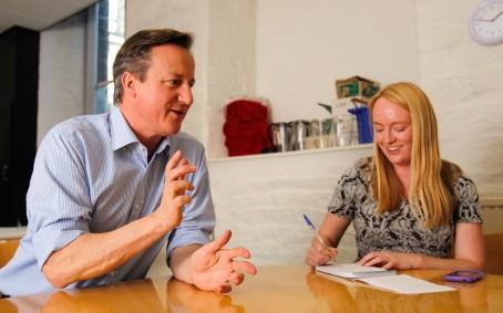 David Cameron visit to Dean Clough Halifax on the electoral campaign.