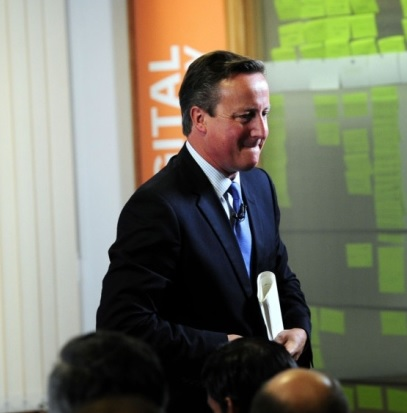 David Cameron leaving the stage in Leeds
