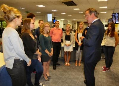 David Cameron meets Archant apprentices in Norwich