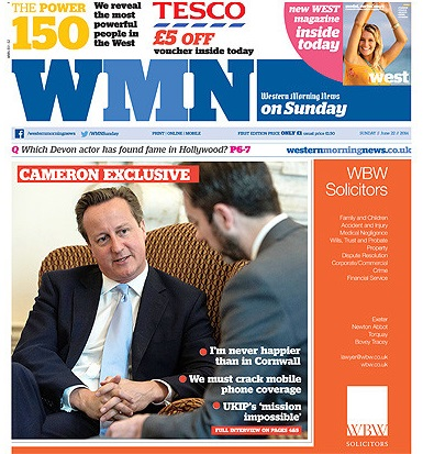 David Cameron was interviewed by the Western Morning News for its first Sunday edition