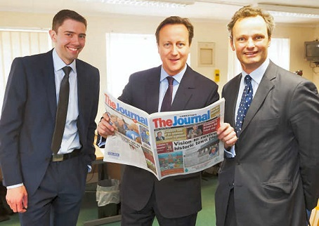 David Cameron is pictured on a visit to The Lowestoft Journal with community editor Andrew Papworth, left and Conservative candidate Peter Aldous, right.