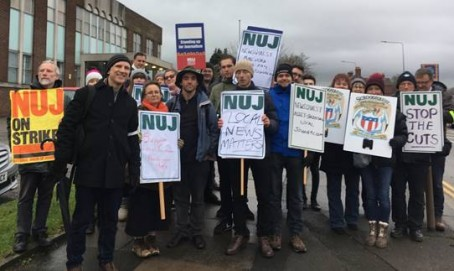 NUJ members on strike in Cumbria today