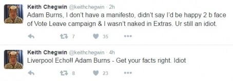 Chegwin tweeta