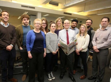 Chris Carter, pictured centre, with Recorder staff