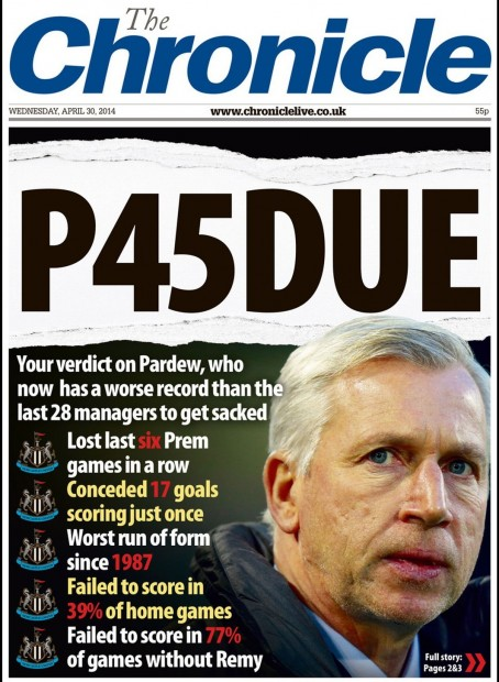 The Chronicle front page earlier this year calling for the axeing of Newcastle manager Alan Pardew