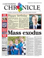 The anniversary front of the Cleethorpes Chronicle, featuring a message of congratulations from Prime Minister David Cameron