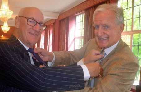 Philip Barnet, left, president of St Paul's Club ,and Bob Warman, president of Birmingham Press Club exchange club ties.