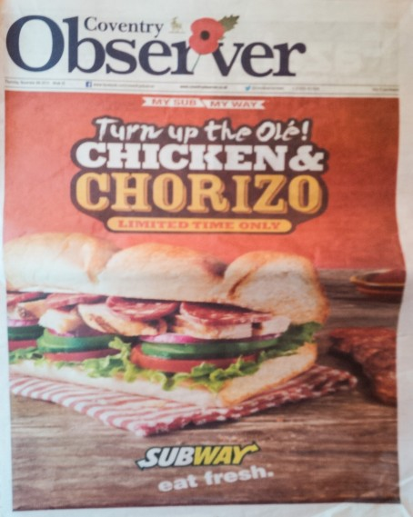 Coventry Observer ad front