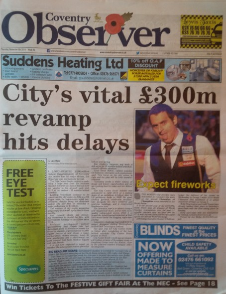 Coventry Observer news front