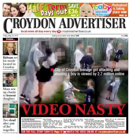 The front page of Friday's Advertiser