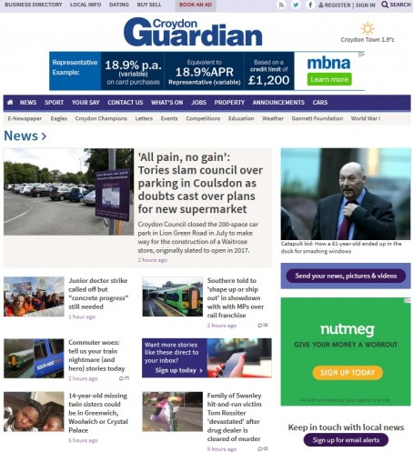The homepage of the Croydon Guardian's website