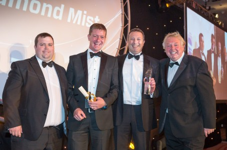 Pictured are Richard Russell from e-cigarette company Diamond Mist who sponsored the award, two representatives from the Cumberland News and radio presenter Nick Ferrari, who hosted the awards