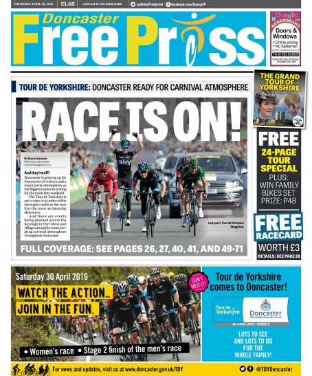 The special Tour de Yorkshire edition of the Doncaster Free Press, which was released yesterday